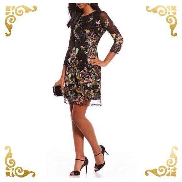 Belle Badgley Dresses & Skirts - Belle Badgley Mischka Anna Floral Sequin Dress